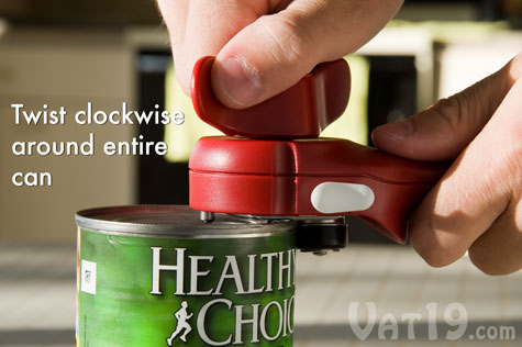The LidLifter automatically grips and cuts the can as you twist the knob.
