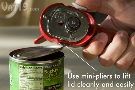 The mini-pliers help you remove the top cleanly and safely.