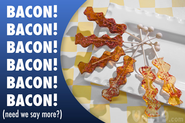 Savory hard candy lollipops flavored like delicious bacon!