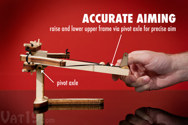 Adjust the angle of attack by raising and lowering the upper frame of the Ballista.