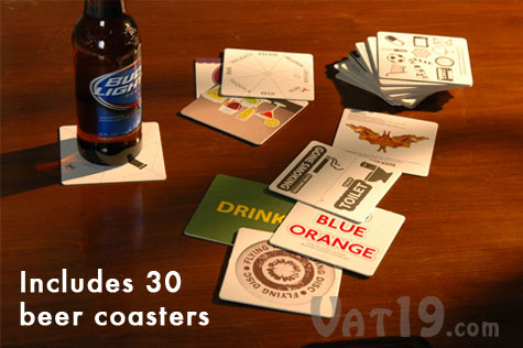 Bar Game Beer Coasters on a table
