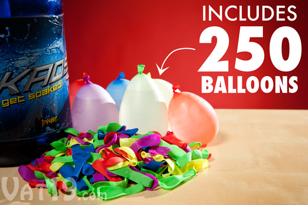 Each Tie-Not Battle Pump includes 250 water balloons.