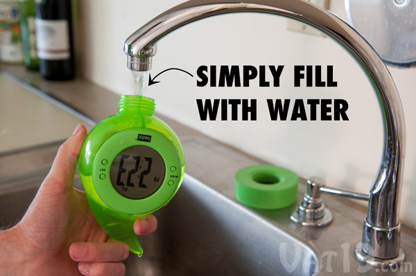 Simply fill the water-powered clock with tap water to begin using.