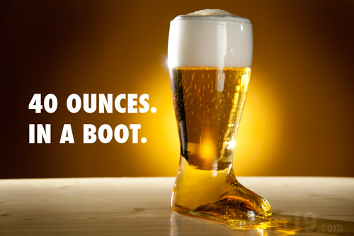 The Beer Boot holds approximately 40 - 48 ounces of delicious brew.