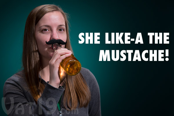 The Beer Mo Bottle Mustache on a woman.