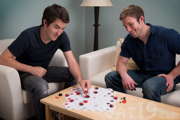 Two men playing a game of Blindside.