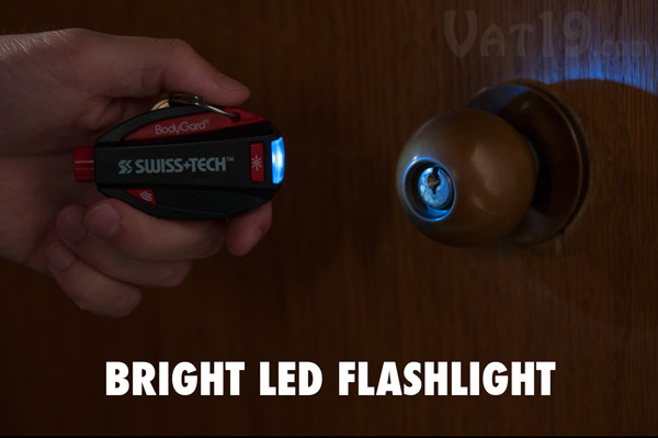 The Swiss Tech BodyGard includes a LED flashlight.