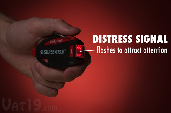 Use the BodyGard's distress flasher to flag down help.