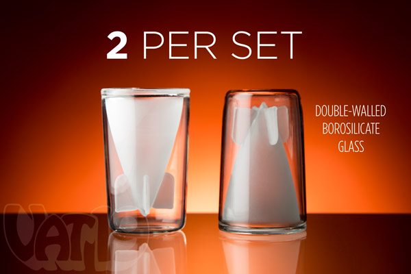Each set includes two Bombs Away Shot Glasses.