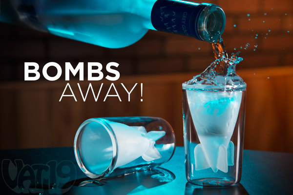 The Bombs Away Shot Glasses on a table.