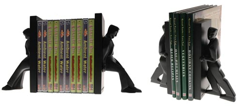Keep your favorite books and DVDs propped up with the Leaning Man and Pushing Man Bookends