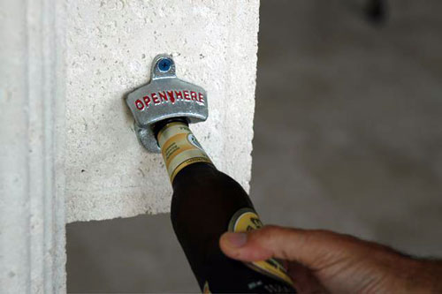 The Wall-Mounted Bottle Opener is easy to mount.