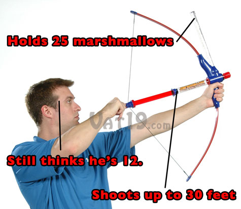 Marshmallow Bow and Arrow holds 25 mini marshmallows and shoots up to 30 feet.