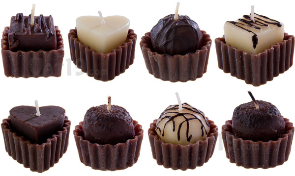 Each Box of Chocolates Candles includes the eight candy candles pictured.