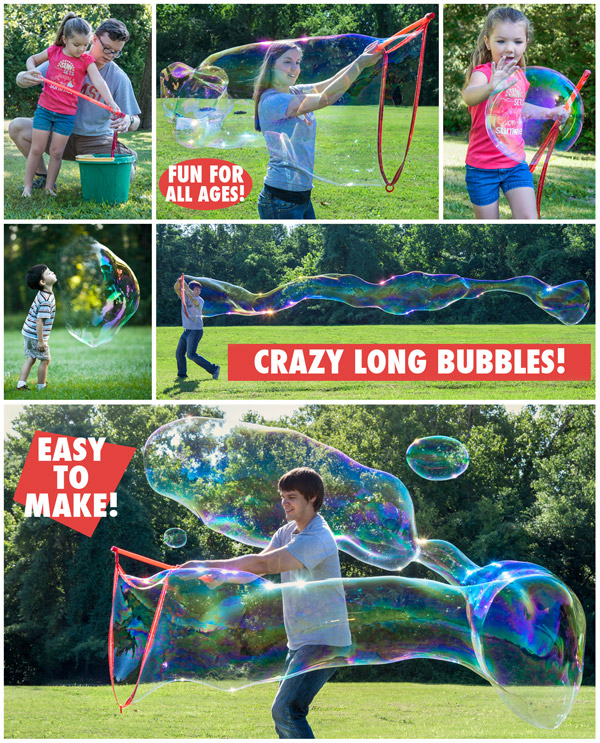 Adults and kids creating huge bubbles with Bubble Thing.