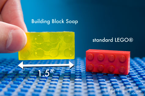 Each Build Block Speaker is slightly larger than a standard LEGO® block.