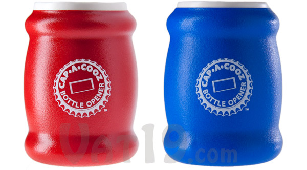 The Cap-a-Cooz is available in red and blue.