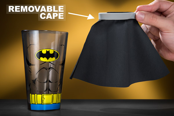 Our officially licensed Superman and Batman Pint Glasses feature removable capes.