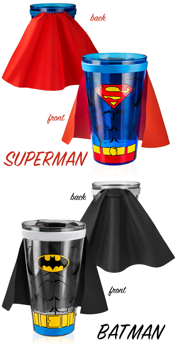 Superhero Pint Glasses are available in a variety of styles.