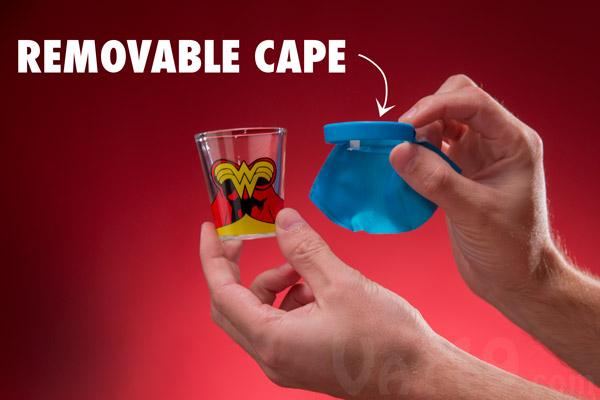 Batman, Superman, and Wonder Woman Shot Glasses feature removable nylon capes.
