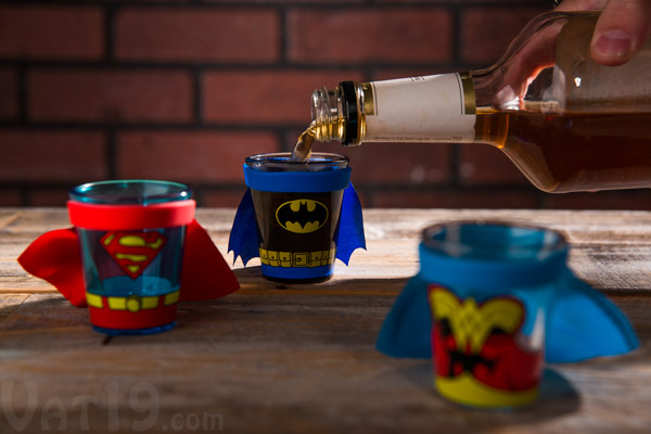 Superhero Shot Glasses with removable capes.