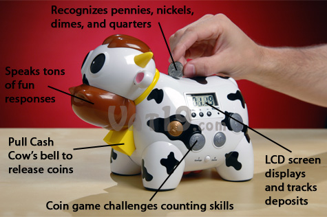 The Cash Cow Talking Bank is the fun electronic talking piggy bank that's also a game.