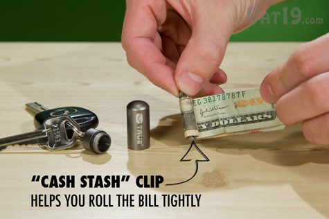 The emergency Cash Stash capsule includes a brass clip to help roll the bill tightly.