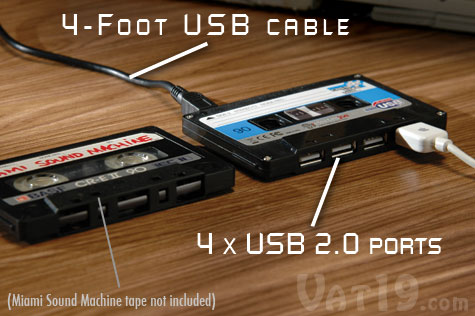 Our Cassette Tape USB Hub features 4 USB 2.0 ports