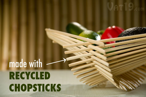 Recycled Bamboo Chopstick Folding Baskets are made from recycled chopsticks.