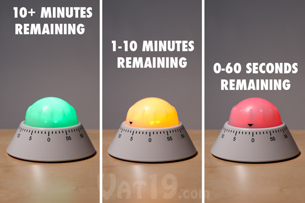 The Color Alert Kitchen Timer changes color depending on how much time is left on the alarm.
