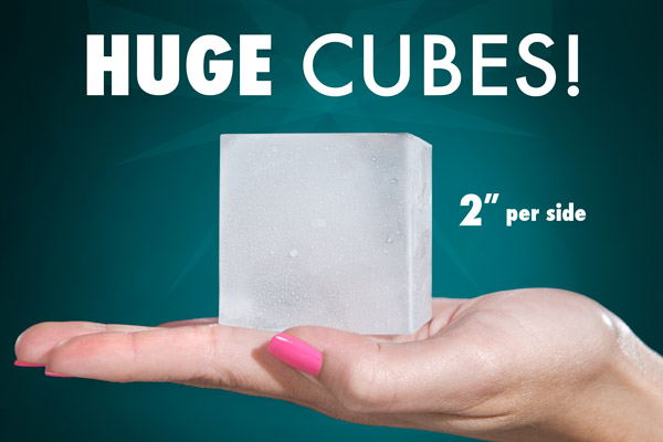 Woman displaying a giant two-inch cube of ice in her hand.