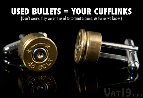 Each set of Colt .45 Cufflinks is made from upcycled Colt 45 shells.
