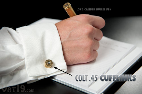 Colt .45 Cufflinks are made from the used shells of .45 caliber bullets.