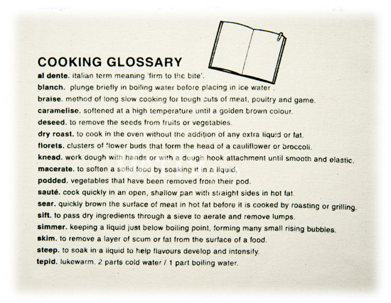 Cooking Guide Apron cooking glossary.