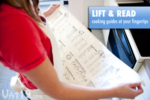 Simply lift up the bottom of the Cooking Guide Apron to reference tons of useful cooking information.