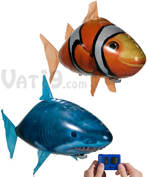Air swimmers remote control flying fish for Remote control air swimming fish