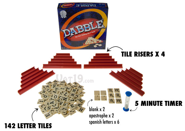 Dabble includes four risers, a sand timer, 142 letter tiles, and instructions.