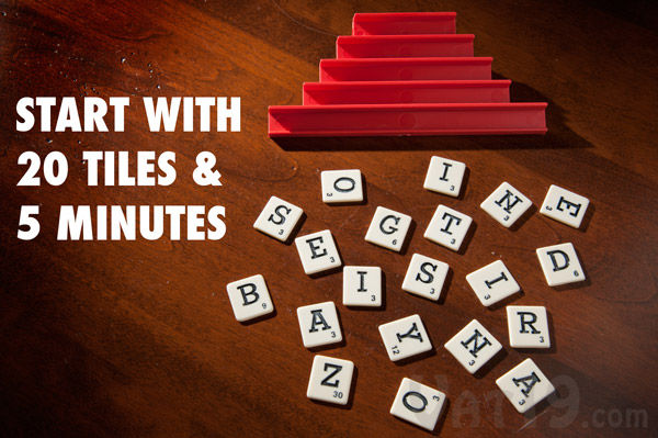 To play Dabble, each player randomly selects twenty letter tiles.