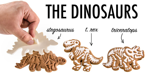 Create Stegosaurus, T. Rex, and Triceratop cookies with the Dig-Ins Dinosaur Fossil Cookie Cutters.