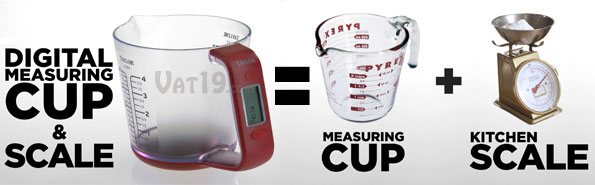 The Taylor Digital Measuring Cup and Scale combines a measuring cup and a kitchen scale into one convenient product.