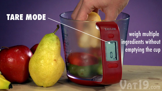 Weigh multiple ingredients without emptying the cup with tare mode.