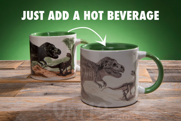 Heat change disappearing dinosaur mug on a table.