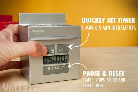 Each timer on the DoneRight 5-in-1 Kitchen Timer can be set in increments of one minute or five.