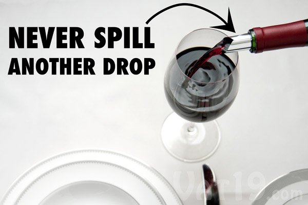 With the Drop Stop Pour Spout, you will never again spill a drop of wine on a fine tablecloth.