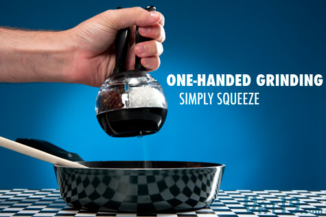 Simply squeeze the handles of the Dual Pepperball to grind and dispense salt or pepper.