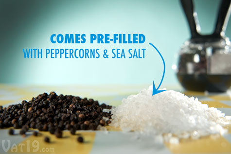 The Dual Pepperball comes pre-filled with fresh sea salt and peppercorns.