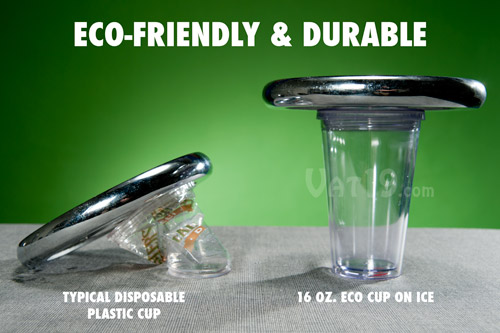 The environmentally friendly Eco Cup on Ice reusable plastic cup is extremely durable.
