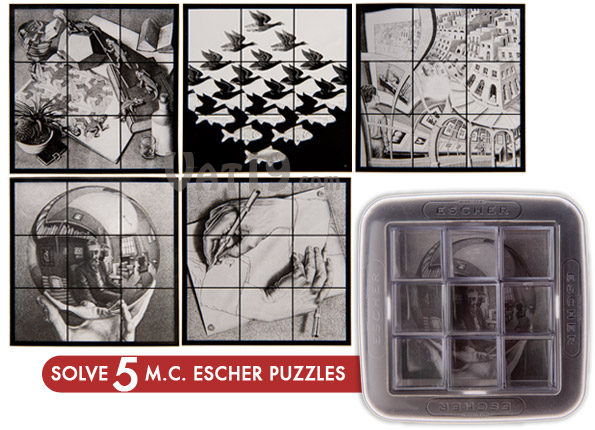 The M.C. Escher Mirror Puzzle includes five famous Escher prints.