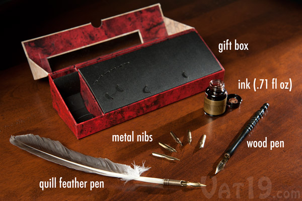 The Feather Pen Set includes a quill feather pen, seven metal nibs, a wood pen, a vial of ink, and an attractive gift and storage box.