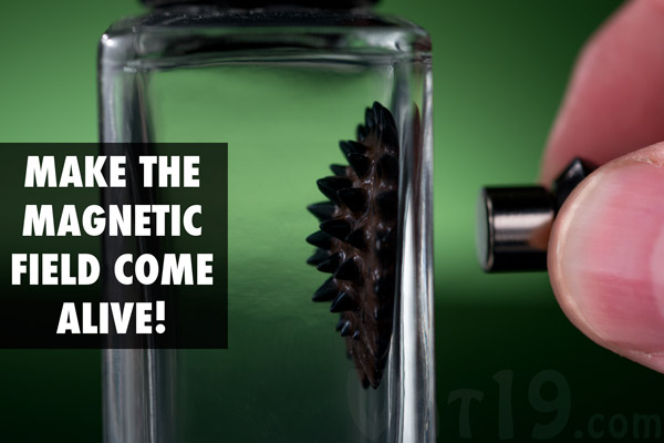 Ferrofluid creates spikes mimicing the magnetic field created when the included magnet is placed close to it.